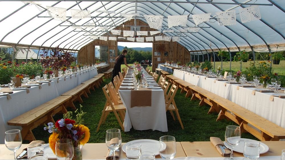 Complimentary farm tables, benches, wooden chairs and hay bales available upon request.