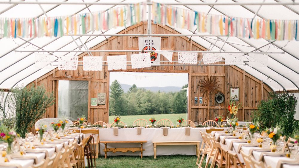 Event greenhouse with custom floral from farm grown flowers. (Meg Haley Photographs)