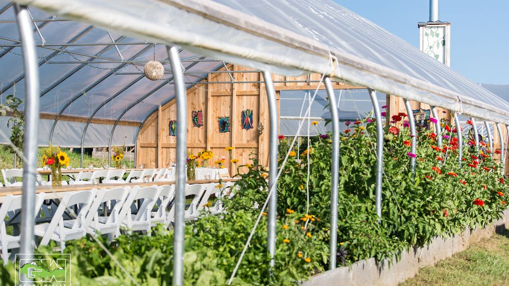 Event greenhouse with open sides on a beautiful summer day.