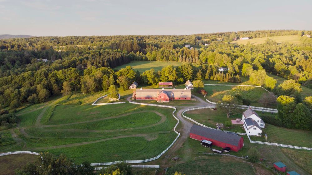 Aerial view of entire farm with Green Mountain Barn venue.
