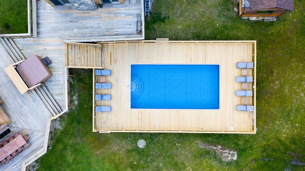 Aerial of deck and pool with deck.