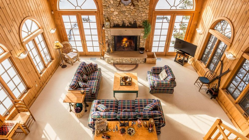 Aerial view of family room from upper loft.