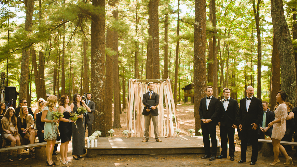 """Ceremony area called the """"fire circle"""" in the camp's forest."""
