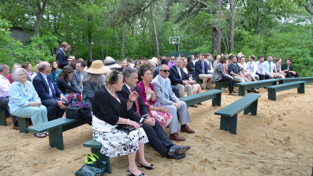 Ceremony site on the sand.
