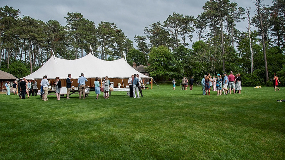 Outdoor tented area.