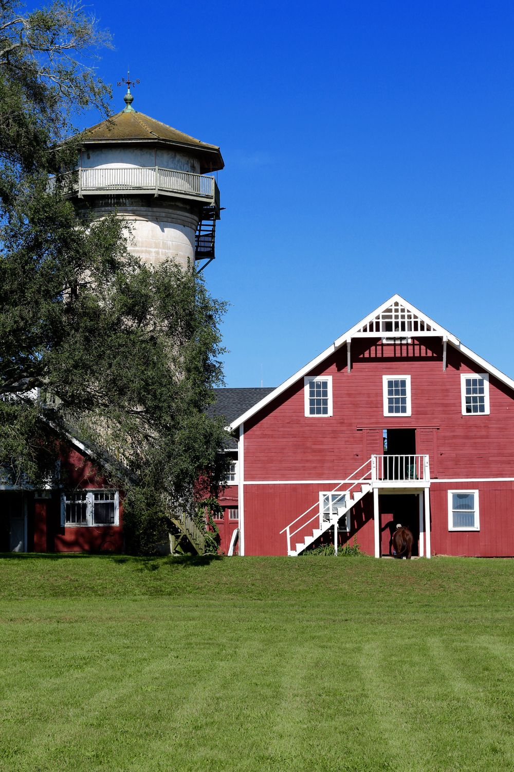 Close up of large riding barn.