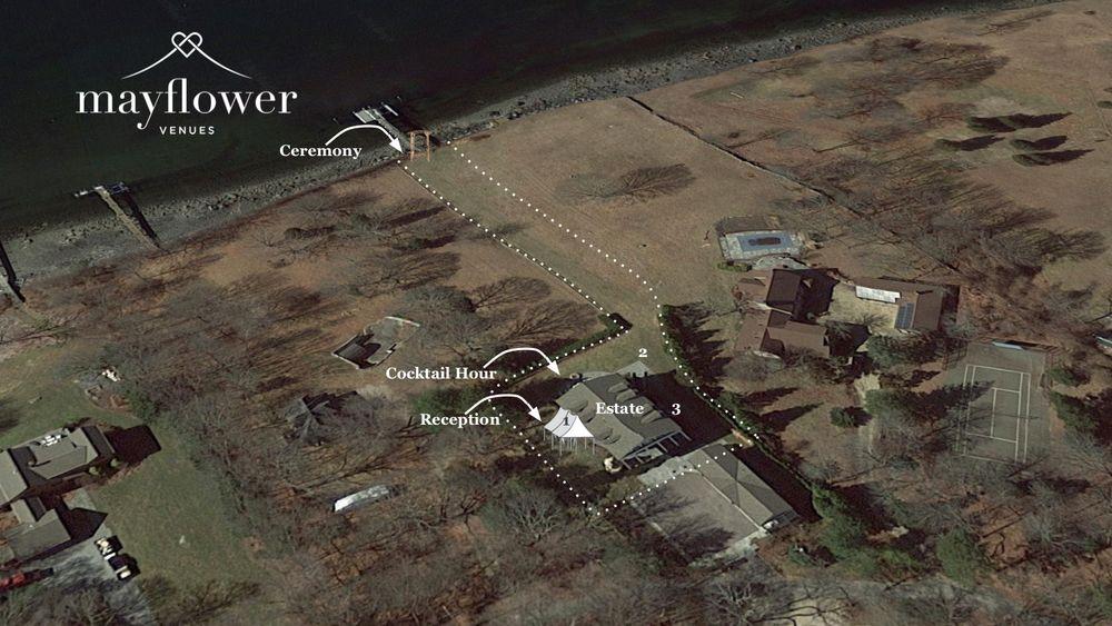 Aerial depiction of venue area.