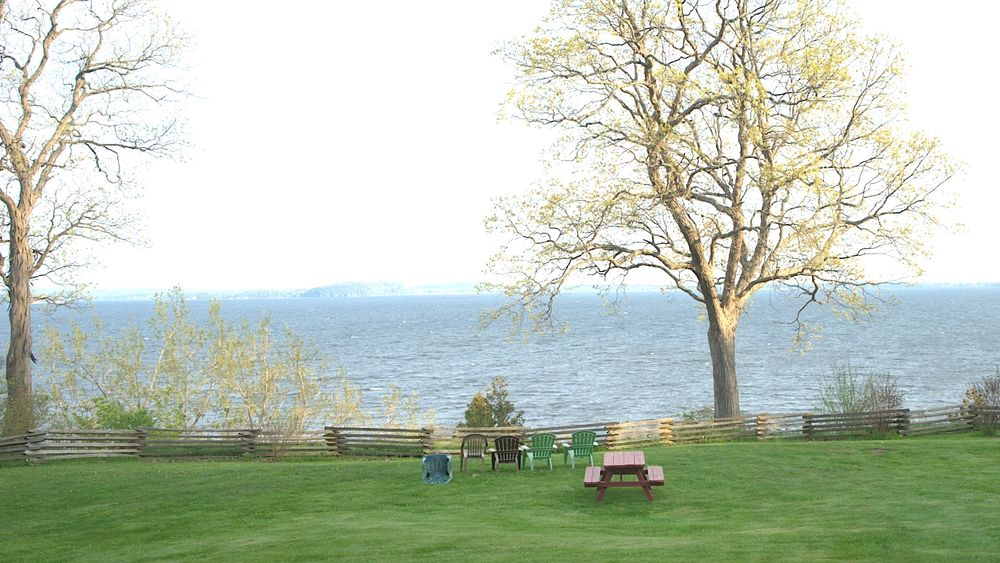 Outdoor wedding site overlooking Lake Champlain.