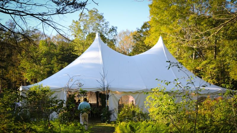 There are two fields with electrical power ideal for erecting tents. One can accommodate a 30' x 60' tent, the other is suited for tents as large as 40' x 60'.