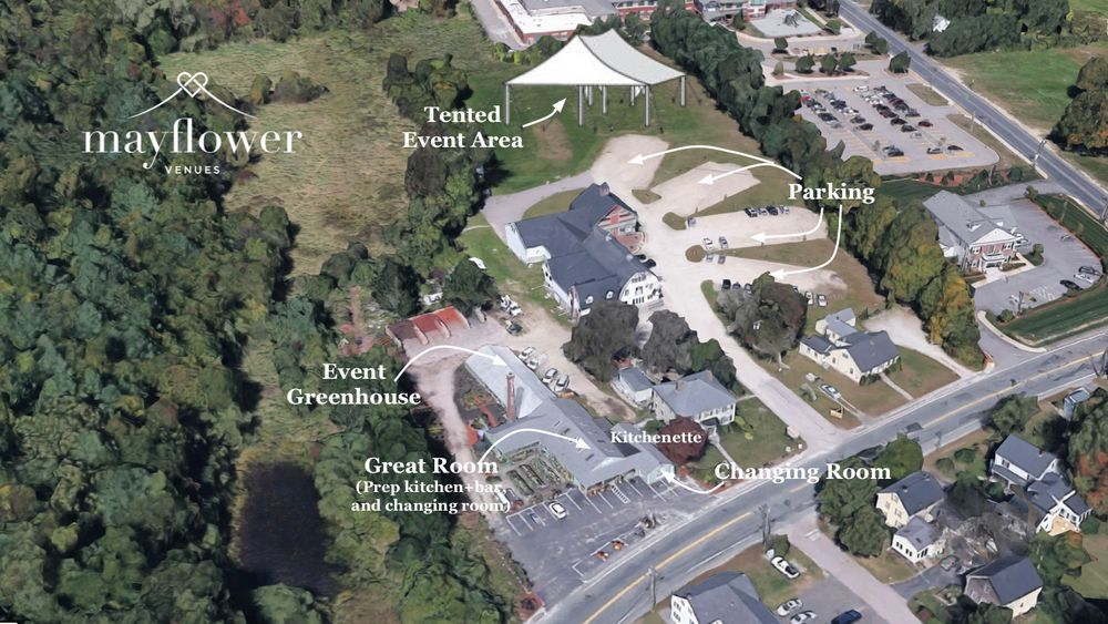 Aerial Map 0f Village Greenhouse event venue - Includes Great Room, Greenhouse, and tented event area.
