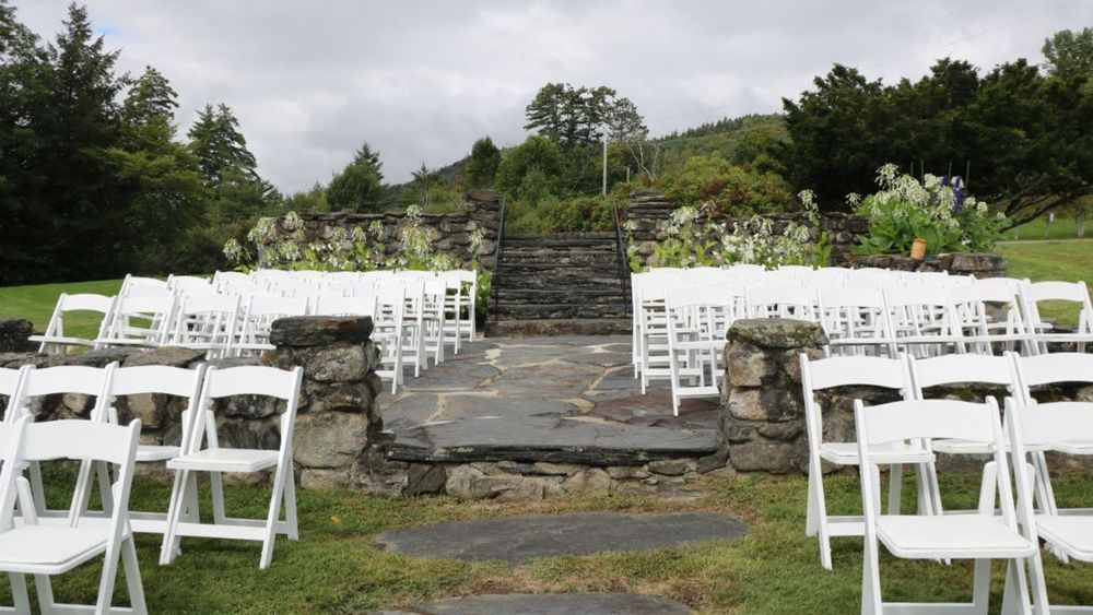 Granite patio foundation with ceremony setup. Chairs are set up facing mountain view backdrop (Rodeo & Co Photography)