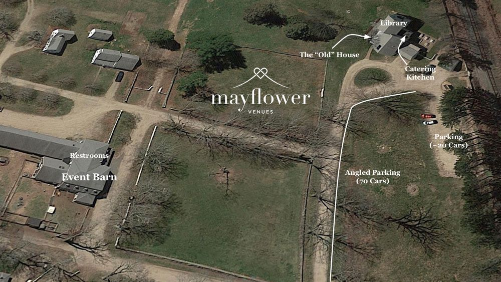 Aerial View - Event Barn with Historic House for staging and catering.