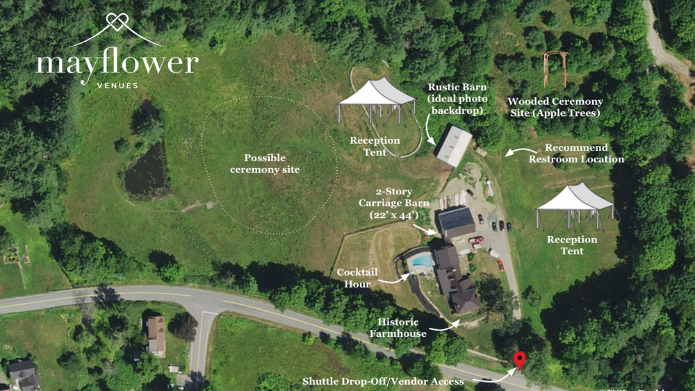 Aerial map of recommended event layout.