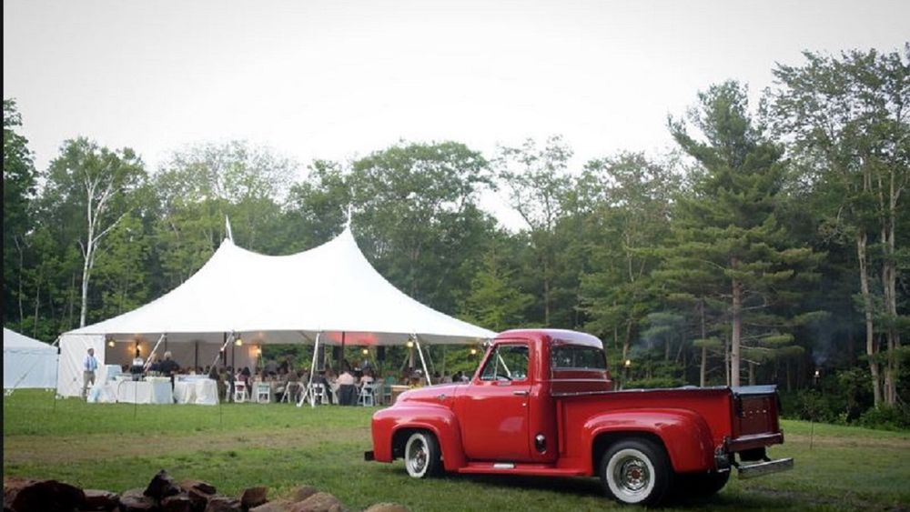 How a 200 guest wedding was setup in the North Field. Ceremony site, Reception tent, catering tent, luxury Restroom Trailer, Outside DJ and Dance Area and Bonfire Pit all fit with lots of room for a game area for the younger guests!