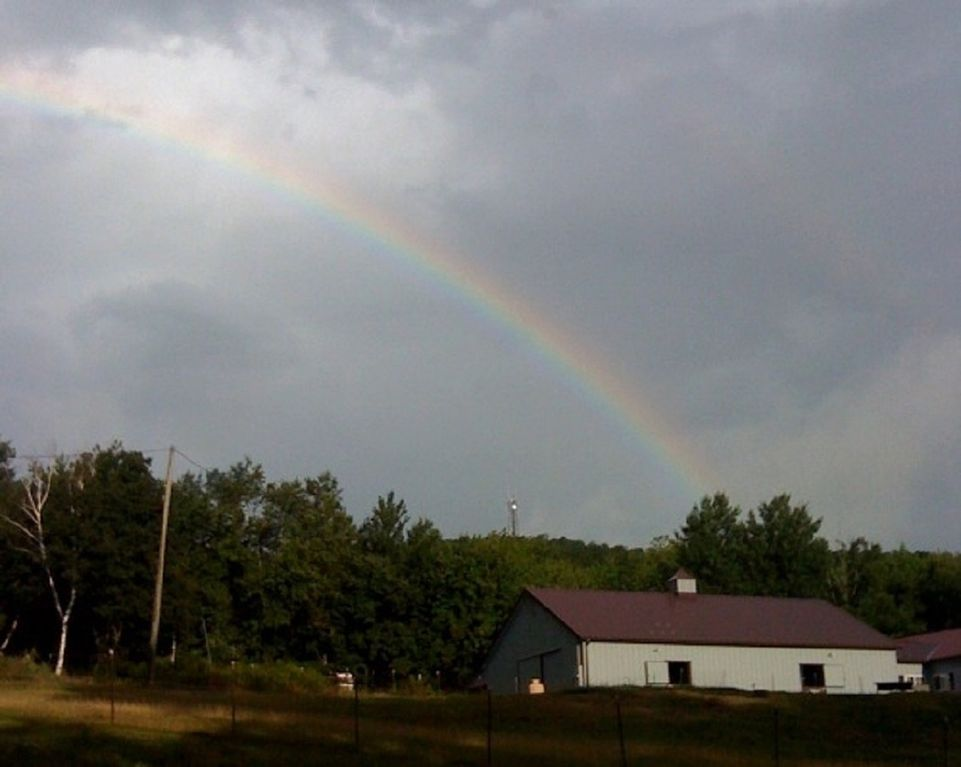 Rainbow over Bush Meadow Farm. It has always been our symbol of hope and happiness for all.