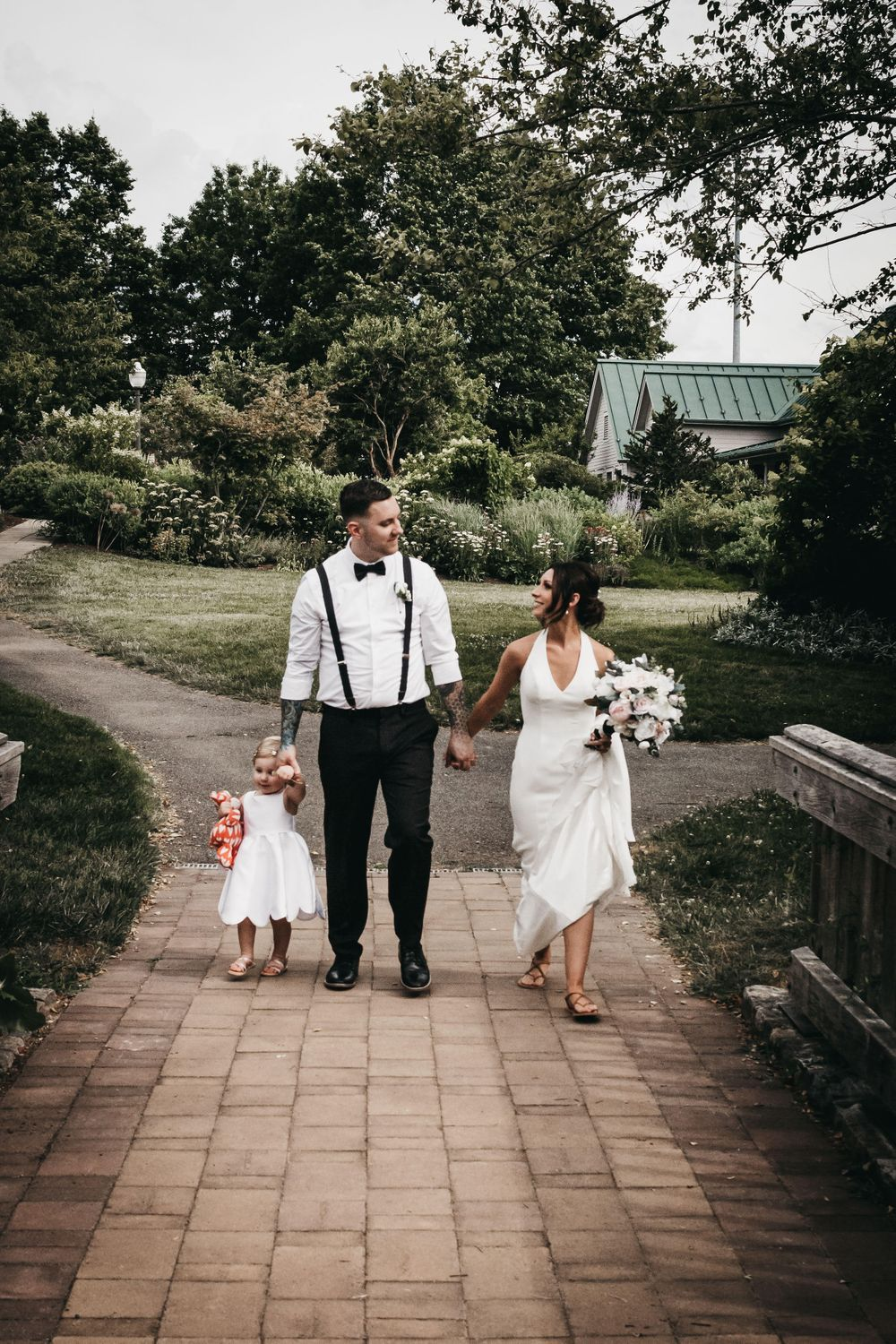 Bridal family at the bridge over the Stream Garden. (Kathryn Marie Clark)