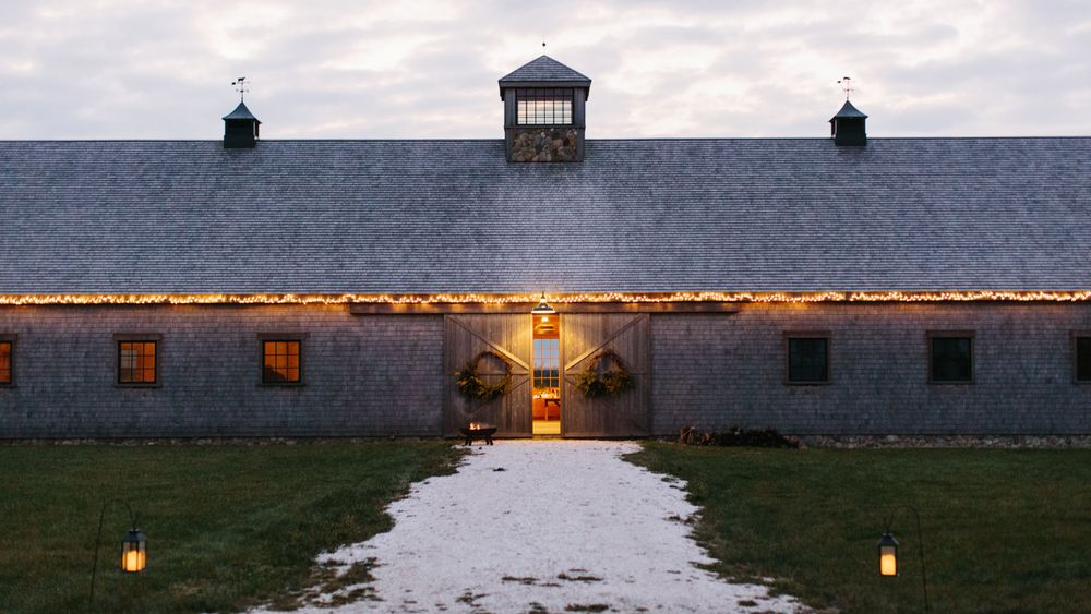 The front of the barn, all decked out for Christmas. Erin McGinn Photography.