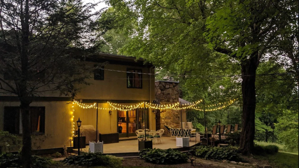 Back patio with bistro lights