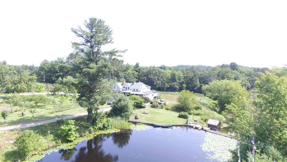 Aerial view of pond, secluded reception area and main home in the distance