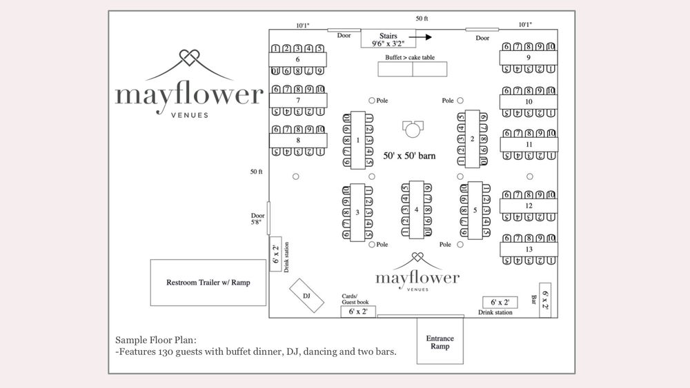 Sample Floor Plan-Features 130 guests with buffet dinner, DJ, dancing and two bars.