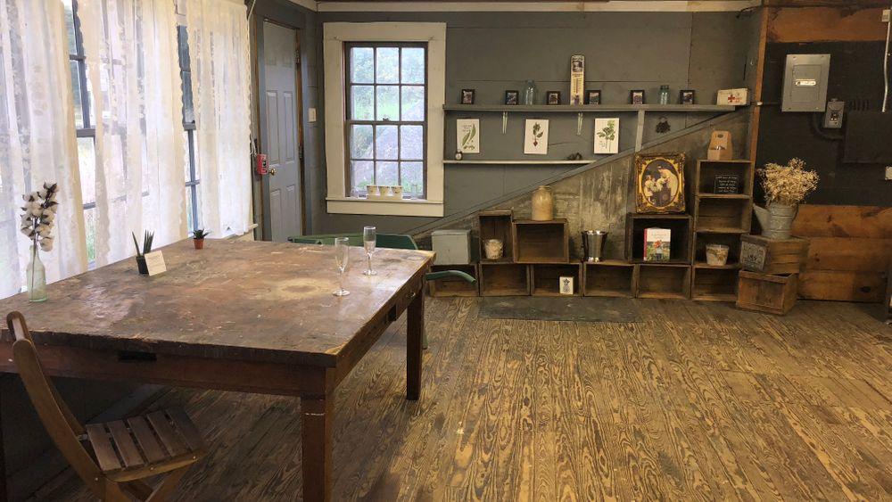 Wedding suite with antique farm table.