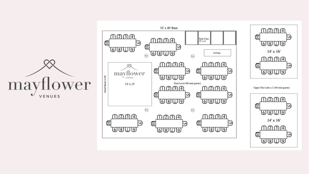 Example floor plan for 120 guests incorporating lower level and upper lofts.