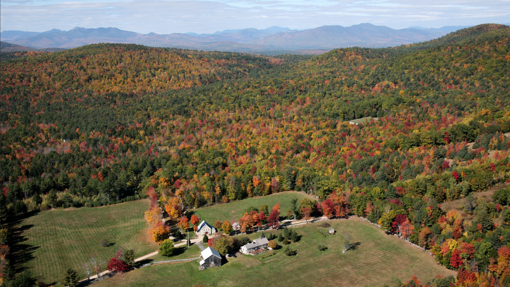 Early fall aerial view of main home and property.