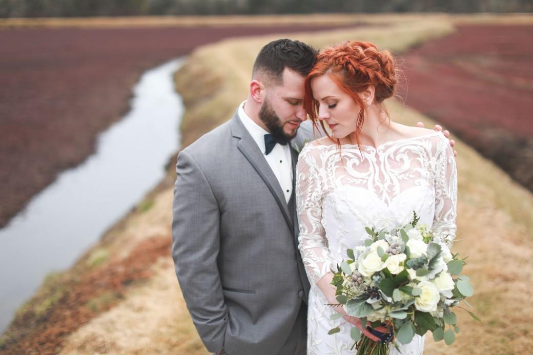 cranberry bog wedding couple