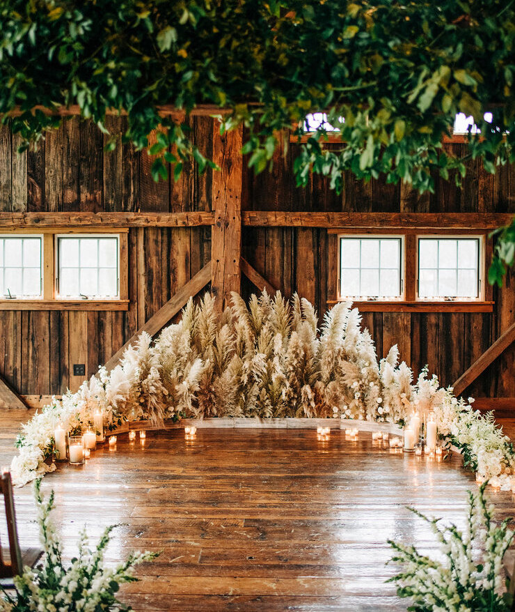Floral barn ceremony
